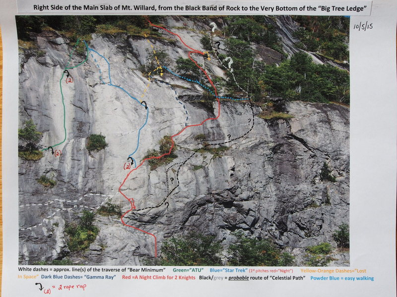 Upper Right side of Slab- &quot;Star Trek&quot; in Red and then Blue (&quot;A Night Climb&quot; andf &quot;Star Trek&quot; follow same route for P2 & most of P3) <br> (Photo updated 10-5-15) [ Route lines are meant as a guide and may be off a few feet from actual &quot;on-the-rock&quot; climbing.  ]