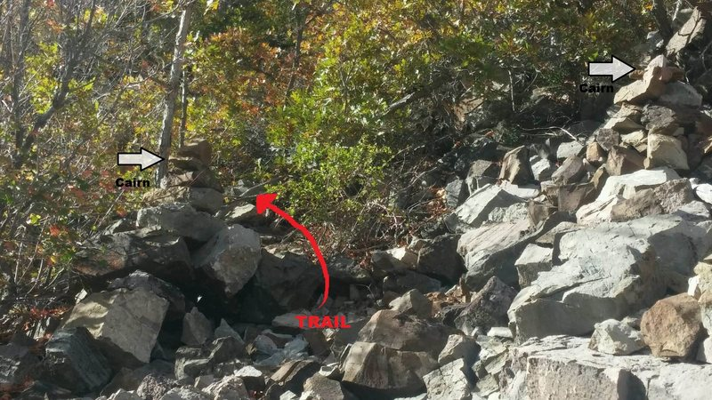Rock Climbing Photo: Two Cairns in Scree Area.