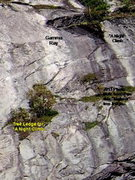 Rock Climbing Photo: 2013 Photo of the Two ledges with trees. This show...