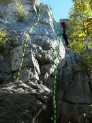Rock Climbing Photo: A- Les genoux ont soif 5.7 B- Sans foi ni loi 5.7
