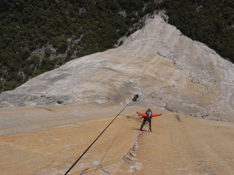 On the headwall of the Shield, El Cap.