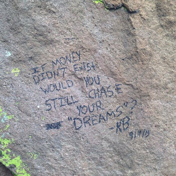 Sharpie quote on Dinosaur Mountain in the Flatirons.