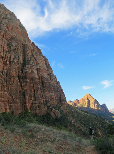 Rock Climbing Photo: Emily on the approach to ACL Arete, which is just ...