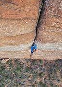 Rock Climbing Photo: Neil Kauffman follows the splitter on pitch 5.