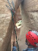 Rock Climbing Photo: Rap station prior to long rap down - well protecte...