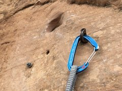 Rock Climbing Photo: Pitch 4, second fixed pro out of three - drilled a...