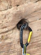 Rock Climbing Photo: Pitch 4, third fixed pro out of three - drilled an...
