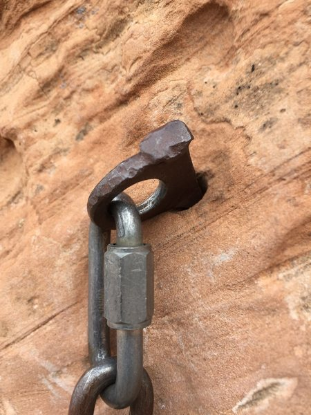 Pitch 4 anchor, upper, right hand drilled pin.