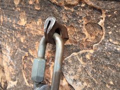 Rock Climbing Photo: Pitch 5 anchor, middle drilled angle.