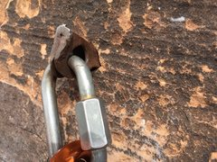 Rock Climbing Photo: Pitch 5 anchor, left hand drilled angle.