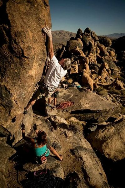 Russ Walling at the crux of Mojave Green.