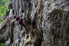 Rock Climbing Photo: This was my first 5.11b lead. Didn't get it clean ...
