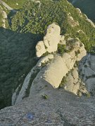 Punsola route in El Cavall Bernat, Montserrat. <br />Multi-pitch sport route up to 6c (french graduation)