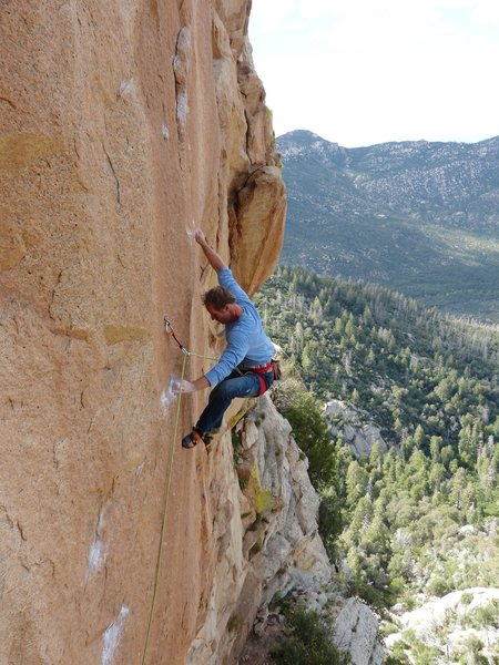 Rock Climbing Photo: Vince on the red wall section of Red Tide, just pa...