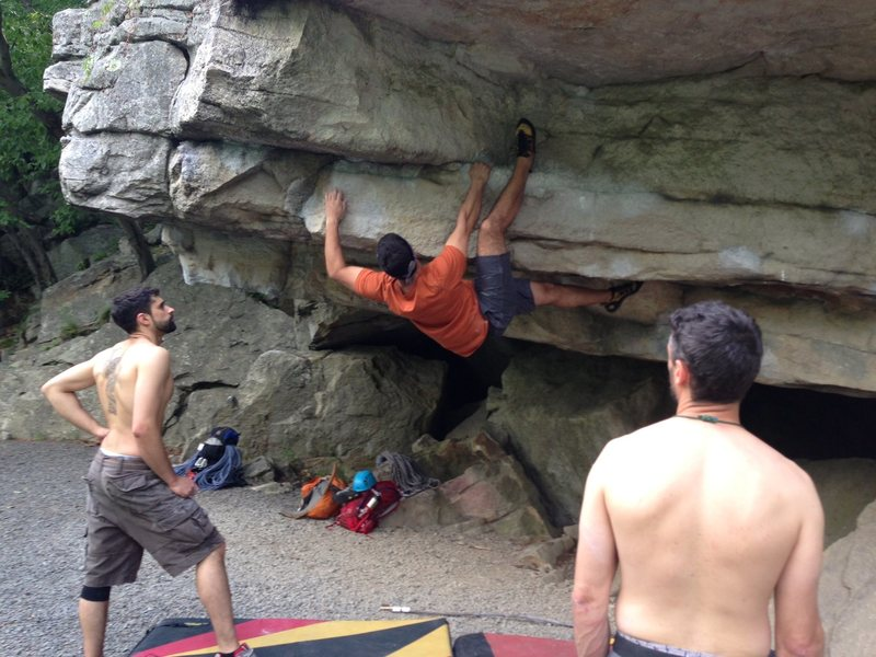 Rock Climbing Photo: Me attempting the Andrew Boulder Problem. Shortly ...
