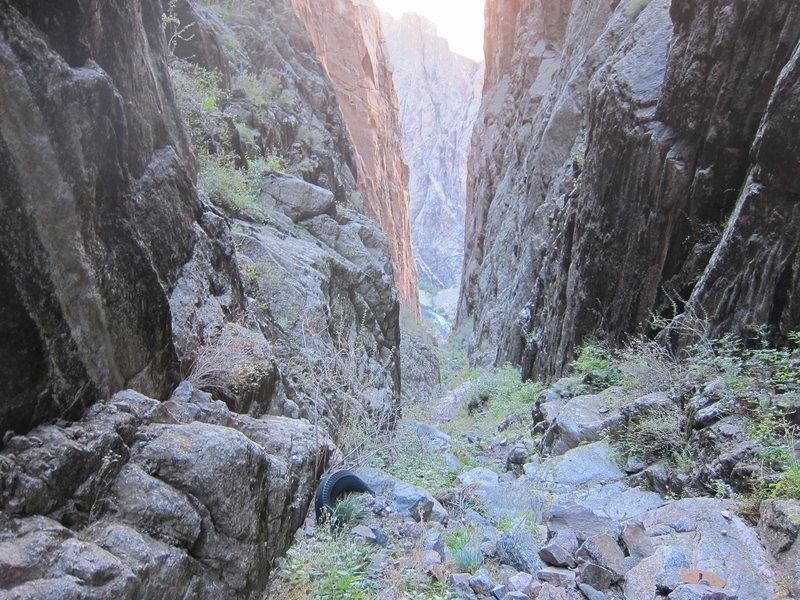 Rock Climbing Photo: The tire marks where you scramble up to the base o...