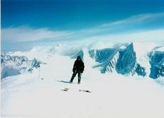Evan Phillips on the summit of Icing Peak (10,995') after making the first ascent of the North Ridge in May 1998.