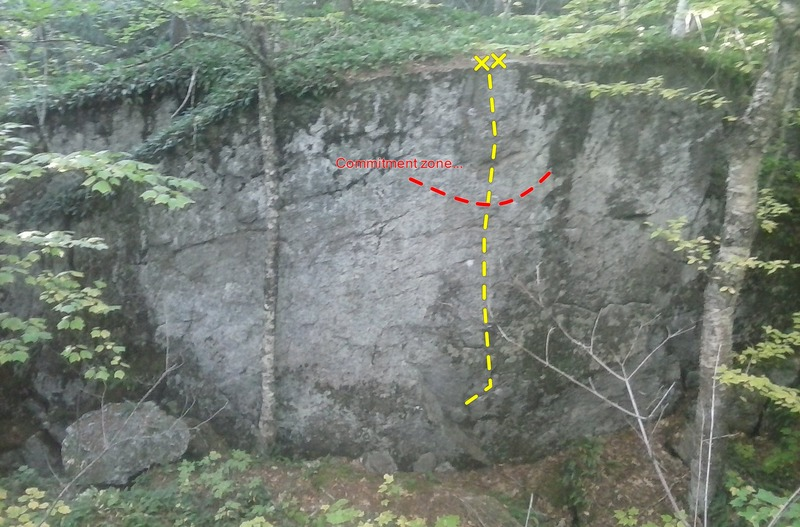 Here is a picture of the line, with the crux and anchors labeled.
