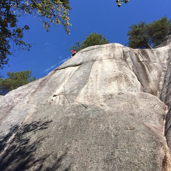 Rock Climbing Photo: Looking up from base of route, bolted anchors are ...
