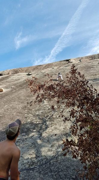 A few guys on Harder Than it Looks and Mark of the Beast. <br> My kid and I were just finishing up when they arrive to start the climbs.