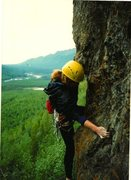Rock Climbing Photo: Georgeanne Sprinkle on an early ascent of 'Son Vol...