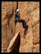 Rock Climbing Photo: Rappelling down LaCholla Jackson (5.9)