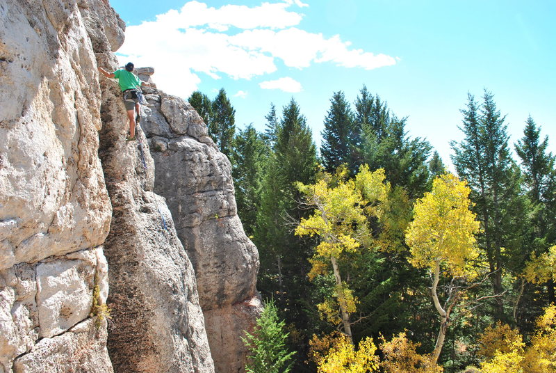Rock Climbing Photo: Rusty leading the left version of Three Charlies. ...