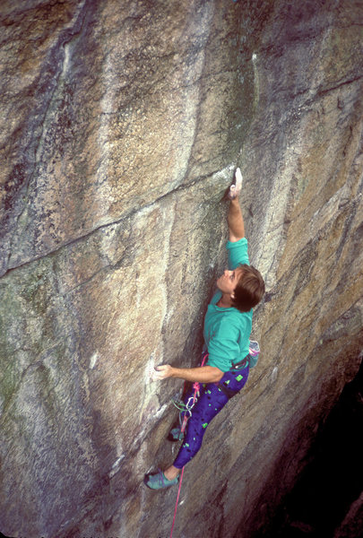 Brave New World 5.12 / Lost City / Gunks / Climber: N. Falacci / Don't laugh.  Those kind of tights are coming back!
