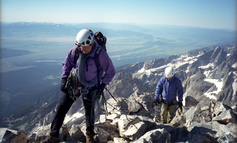 Grand Teton Summit / Guided Party arrives, ending our 10 minutes alone at the top. / Climbers: unknown
