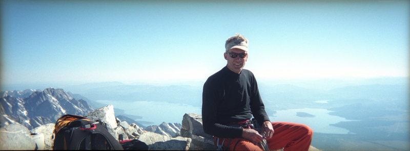 Grand Teton Summit / John Bragg taking a break before heading down.