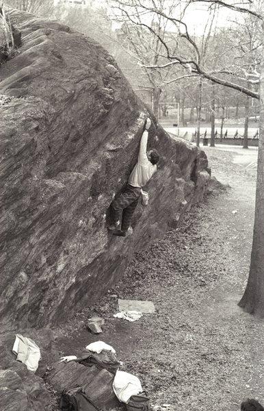 Testpiece V6 / Rat Rock / Central Park / Climber: Jeff Dahlgren / 1987
