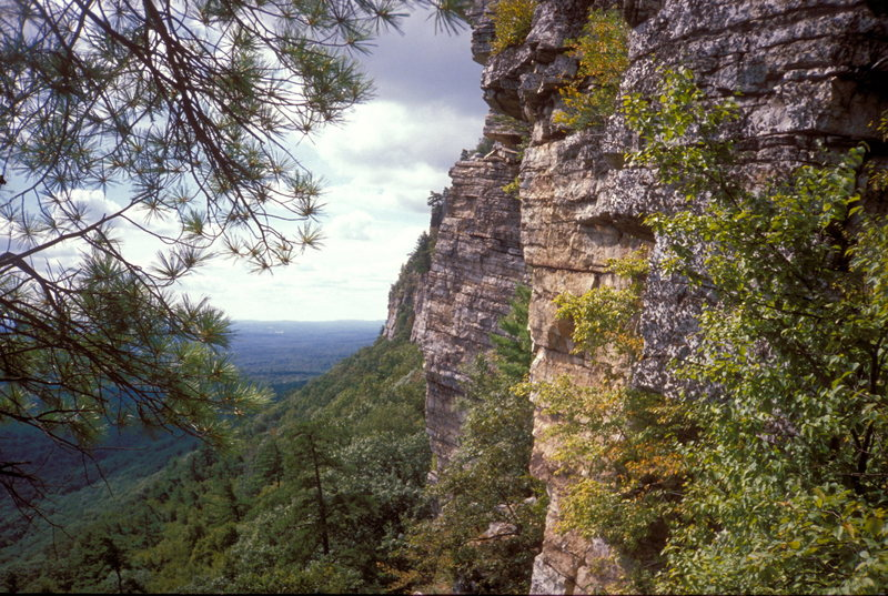 The Trapps / Gunks / Looking south from belay on Ant's Line / orange Obstacle Delusion buttress at right center & gray High Exposure buttress dead center.