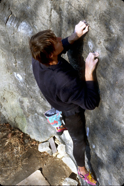 Private Angel V7 / Cat Rock / Central Park / Climber: Jean DeLataillade / Jean made the first ascent of this problem.