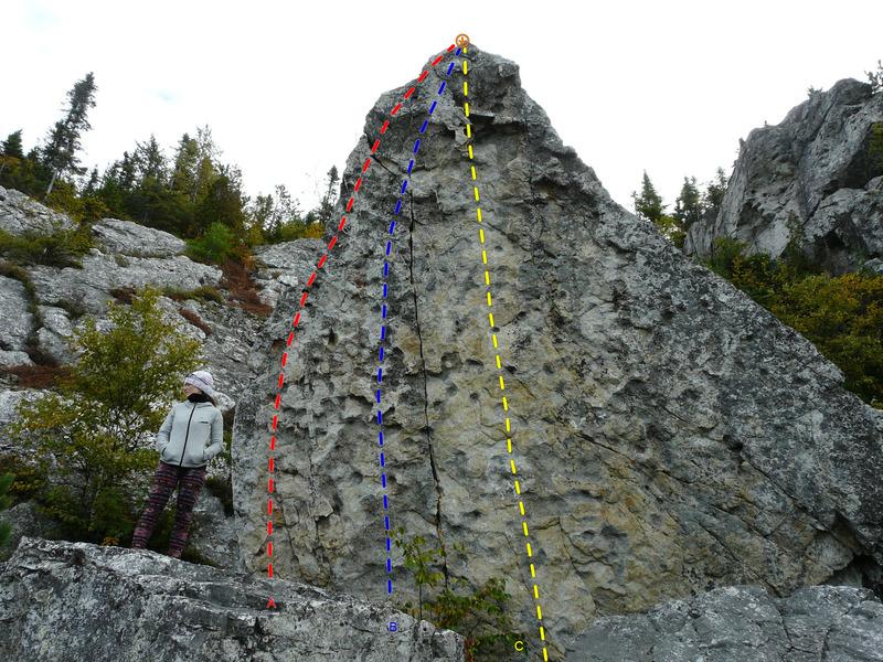 Rock Climbing Photo: A- Le lézard 5.10a B- Molaire facile 5.10b C- Rag...