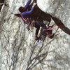 Double Overhang 5.10 / Claudius Smith Den / Harriman State Park / Climber: Dennis Walker - at the first overhang