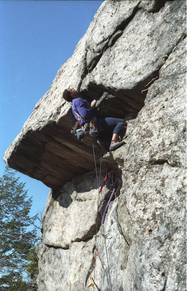 Double Overhang 5.10 / Claudius Smith Den / Harriman State Park / Climber: Dennis Walker - at the second overhang