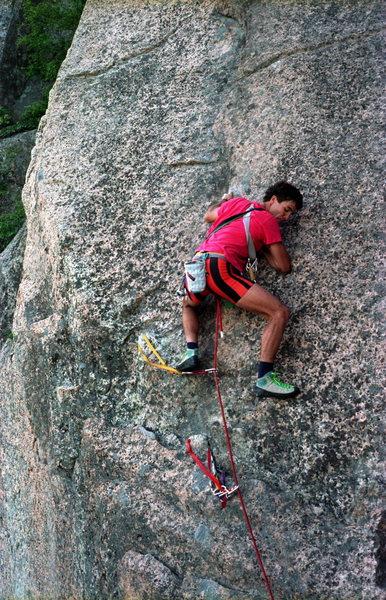 Rock Climbing Photo: Chicken of the Sea 5.8 / Precipice Cliff / Acadia ...