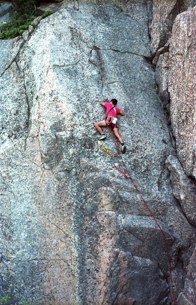 Chicken of the Sea 5.8 / Precipice Cliff / Acadia National Park / Climber: unknown / what's happening: Just passing the crux and working a beautiful flake up a clean slab