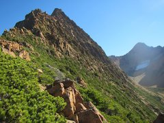 Rock Climbing Photo: At the beginning of the route, South Twin on right...