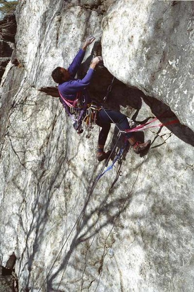 Rock Climbing Photo: Dennis Walker making an ascent of Double Overhang ...