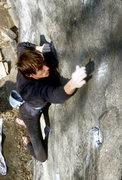 Rock Climbing Photo: Jean DeLataillade on Elias V9 before two of the lo...