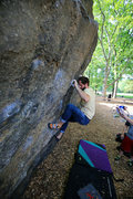Rock Climbing Photo: Setting up for the crux move on Rat Patrol V4 / Ra...