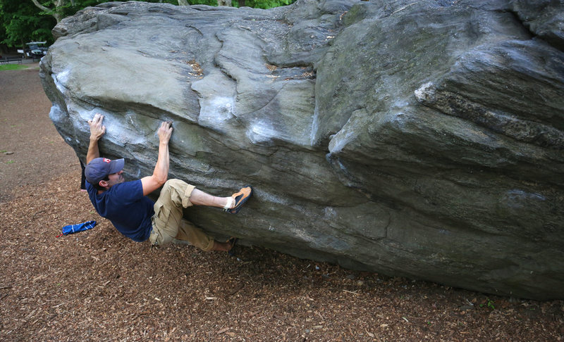 The most popular V5 in New York City.  Working the Overhanging Traverse (aka Polish Traverse).
