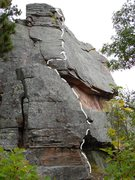Rock Climbing Photo: Start large crack/seperated flake and go up and ov...
