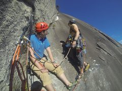 Rock Climbing Photo: Grant preparing to lead P2 of the Great Arch. The ...