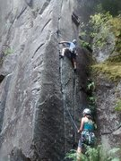 Rock Climbing Photo: Unknown climbers on the 5.8 twin cracks variation.