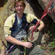 Hanging belay 3 pitches up Rewritten in Eldorado Canyon, Colorado