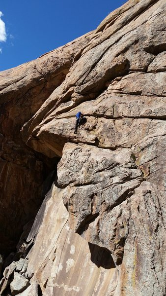 Past the roof traverse and onto the upper face. No way to avoid rope drag here....