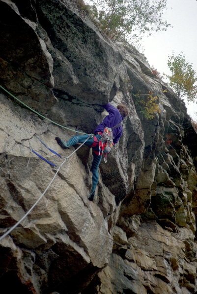 At the crux of Filipina (after doing P1 of The Nose).  Typical funky Gunks gear.