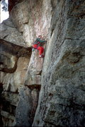 Rock Climbing Photo: Heading up the lower shallow 5.11 corner on Bullfr...